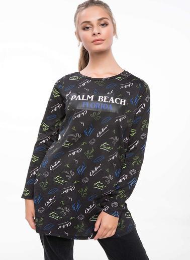 DeFacto Slogan Baskılı Desenli Tunik Siyah